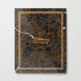 Glasgow | Scotland - Minimalist City Map Metal Print