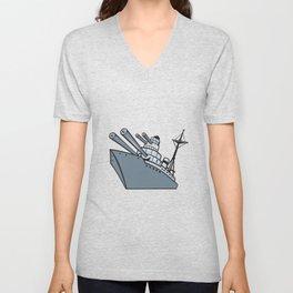Cartoon Battleship With Big Guns Unisex V-Neck