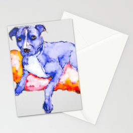 Faded Pitbull dog lounging painting Stationery Cards