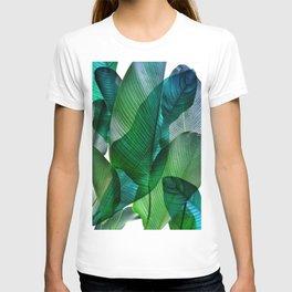Palm leaf jungle Bali banana palm frond greens T-shirt