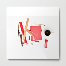 Coffee cup mug desk Metal Print