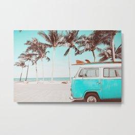 Retro Camper Van With Surf Board Metal Print