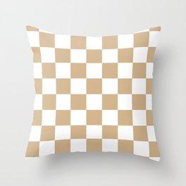 Checkered - White and Tan Brown Throw Pillow