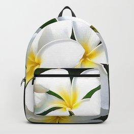 Tropical Island-Style White Plumeria Flowers Backpack