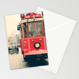 Vintage red tram Stationery Cards