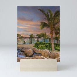 Palm Tree and Fountain at Dusk Mini Art Print