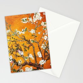 Vincent van Gogh Blossoming Almond Tree (Almond Blossoms) Orange Sky Stationery Cards