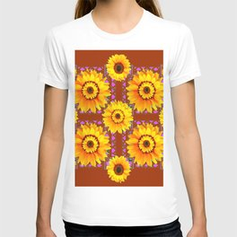 CINNAMON COLOR YELLOW SUNFLOWERS ART T-shirt