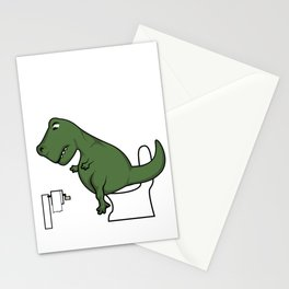 TRex dinosaur arms toilet funny gift Stationery Cards
