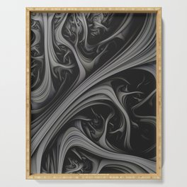 Charcoal Churn. 3d Abstract Art Serving Tray