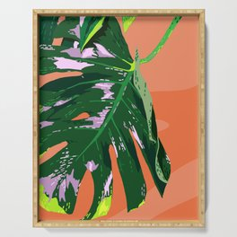 Daytime Monsters - Tropical Monstera Deliciosa Illustration Serving Tray