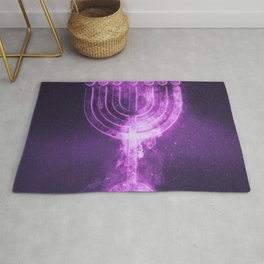 Hanukkah menorah symbol. Menorah symbol of Judaism. Abstract night sky background. Rug