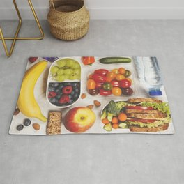 Healthy lunch box with sandwich and fresh vegetables Rug