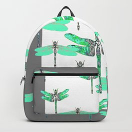 WHITE FLIGHT OF GREEN DRAGONFLIES GREY DESIGN Backpack