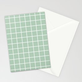 Minimalism Window Pane Grid, Sage Green Stationery Cards
