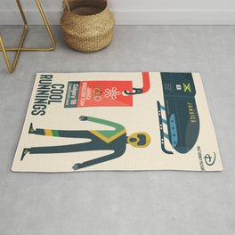 Cool runnings, Jamaica bobsled team movie, olympic games poster, Calgary 1988, Winter Olympics, John Candy Rug