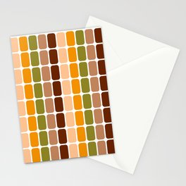 Retro 70s oval capsules brown orange moss green Stationery Cards