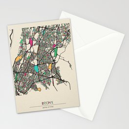 Colorful City Maps: Bronx, New York Stationery Cards