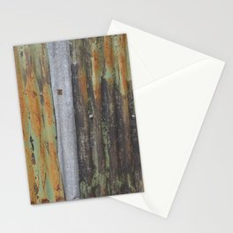 corrugated rusty metal fence paint texture Stationery Cards