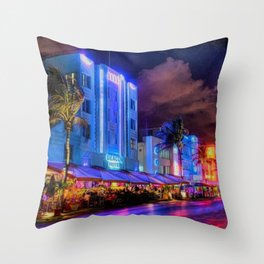 South Beach Miami City Lights by Jeanpaul Ferro Throw Pillow