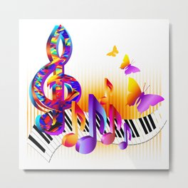 Music notes colorful design Metal Print