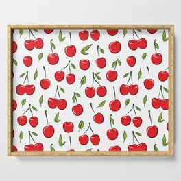 Cheerful cherry pattern. Colorful cherries on white Serving Tray