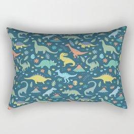 Kawaii Dinosaurs in Teal + Coral + Yellow Rectangular Pillow