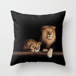 Cute lion and lioness - happy big cat family lie on the wooden log. Beautiful animals photo on dark background Throw Pillow