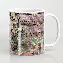 Vintage Floral Music Note Paper Coffee Mug