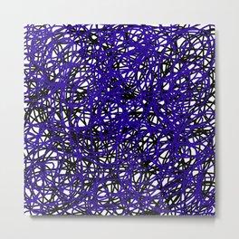 The Scribbler Black and Blue Metal Print