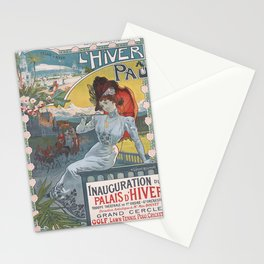 Affiche lhiver a pau. circa 1900  Stationery Cards