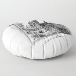 Old building on the Amstel Amsterdam Floor Pillow