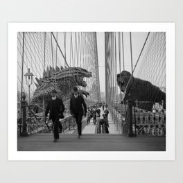Old Time Godzilla vs. King Kong Kunstdrucke