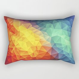 Abstract Polygon Multi Color Cubism Low Poly Triangle Design Rectangular Pillow