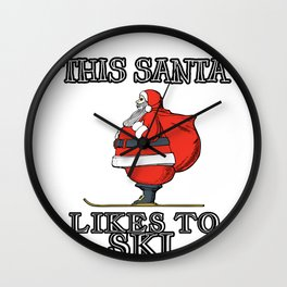 Christmas Skiing Santa This Santa Likes to Ski Wall Clock