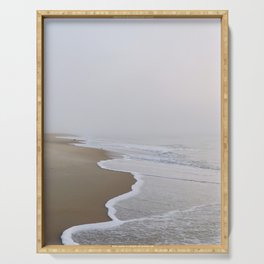 Ocean fog, waves, and beach - minimalist landscape photography  | Rehoboth Beach, DE Serving Tray