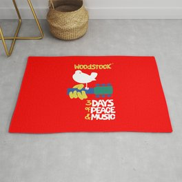 Woodstock 1969 - red background Rug