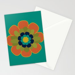 Morelia Flower 2 - Retro Floral in Orange, Olive, Mustard, Turquoise, and Teal Stationery Cards
