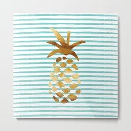 Pineapple & Stripes - Mint/White/Gold Metal Print
