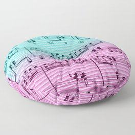 Geometric abstract black pink teal ombre music notes Floor Pillow