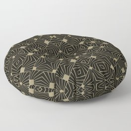 Elegant Retro Black Gold Art Deco Style Pattern Floor Pillow