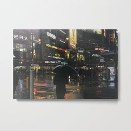 City Lights and Lonely Man in Toronto Street photography Metal Print
