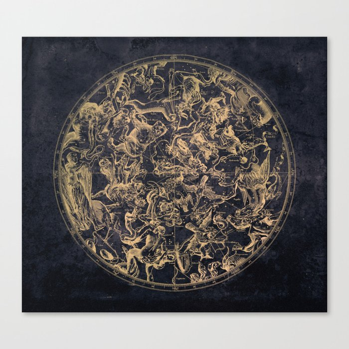 Vintage Constellations & Astrological Signs | Yellowed Ink & Cosmic Colour Leinwanddruck