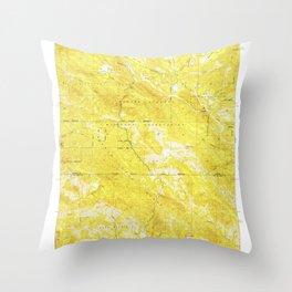 Burnett Peak, CA from 1949 Vintage Map - High Quality Throw Pillow