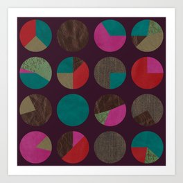 dots and shreds and colors Art Print
