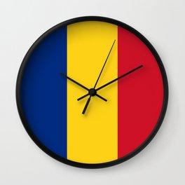 Flag of romania 3 -romania,romanian,balkan,bucharest,danube,romani,romana,bucuresti Wall Clock