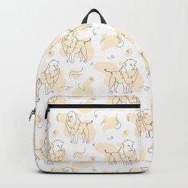 Lion mono line art & Bohemian banana yellow drops Backpack