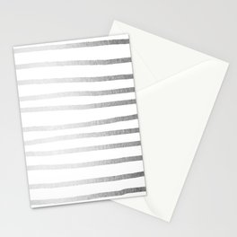 Simply Drawn Stripes Moonlight Silver Stationery Cards