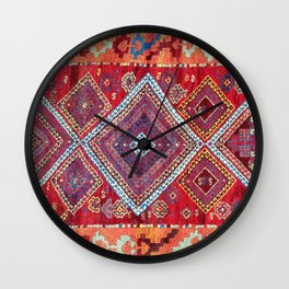 Adiyaman Antique Kurdish Turkish Rug Print Wall Clock