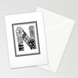 Zentangle N Monogram Alphabet Initials Stationery Cards